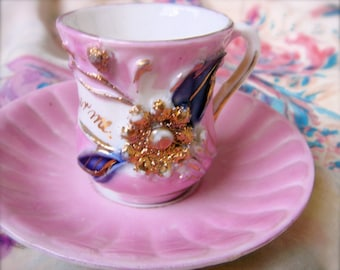 """Vintage """"Remember  Me"""" Cup and Saucer-Germany"""