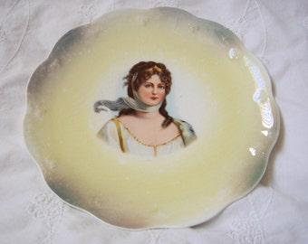Antique Limoges Portrait Plate-Queen Louise
