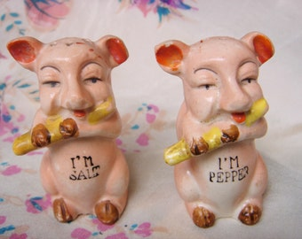 Vintage Salt and Pepper Shakers-Pigs Playing Flute