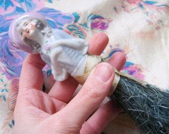 1920's Porcelain Half Doll Brush-Teal Brush
