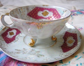 Porcelain Footed Gold Trim Teacup and Saucer-Raspberry