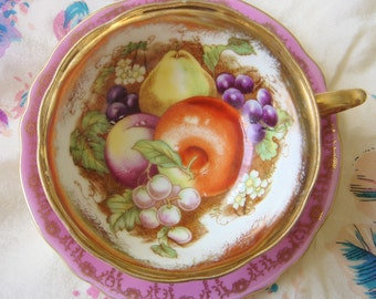 Vintage Royal Sealy Pink and Gold Teacup-Fruits