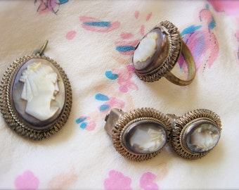 Vintage Mother of Pearl Cameo Set