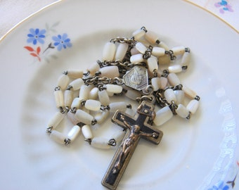 Vintage Mother of Pearl Rosary-Belgium