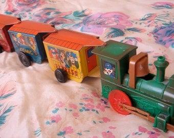 Vintage Mechanical Toy Tin Train