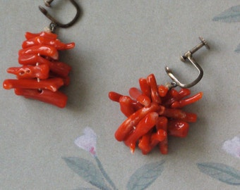 Vintage Red Branch Coral Earrings