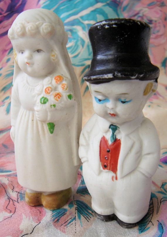 1920's Bisque Wedding Cake Topper-Japan