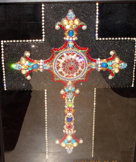 Items similar to swarovski crystal cross wall decor multi for Swarovski decoration crystals