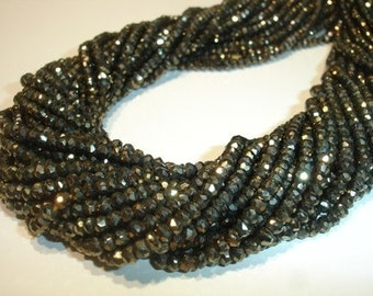 Reseved for Barbra 12 Full 14 Inches  Pyrite Faceted Rondelles -2.5-2.75mm SUPERB QUALITY
