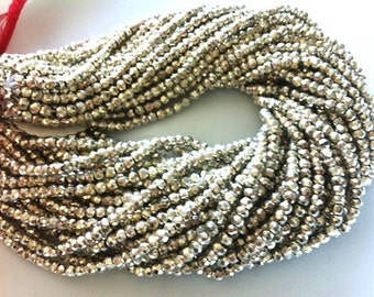 1 Full Strand -Sparkling Finest Coated SILVER PYRITE Faceted Rondelles