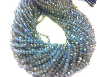 Labrodorite Micro Faceted 3 mm Rondelle FULL Strand From BeadMall
