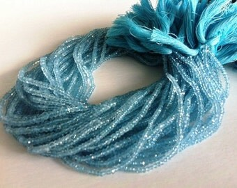 14 Inches --Full Strand--- A grade, veryb rich in Color, Natural Aquamarin-- Micro Faceted Roundels - Size 3.5-4mm Approx
