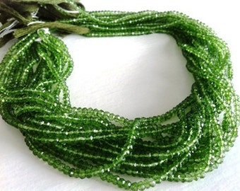 14 Inches --Full Strand--AAA--Great Green Qtz -- Micro Faceted Roundels - Size 3.5mm Approx