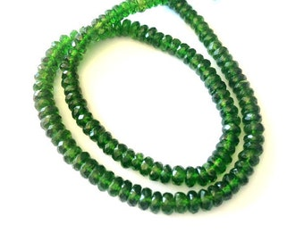 Full 14 Inches - 4-5mm - Natural Sparkling Transparent Fine Quality Chrome Diopside Faceted beads Strand