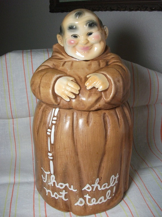 twin winton monk cookie jar
