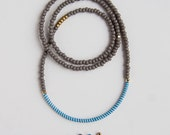 Beaded color block necklace - African recycled rubber beads - gray, light blue zebra pattern