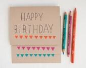 Cyber Monday -Happy Birthday Hand drawn blank card - choose orange, magenta and blue