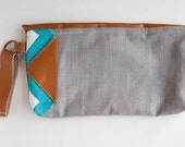 SALE PROTOTYPE Blue chevron and linen,  tan leather clutch