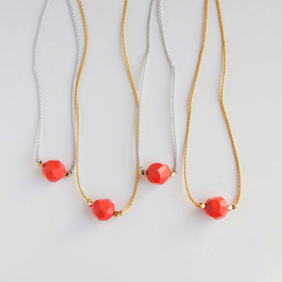 SALE Fun vintage red bead long necklace