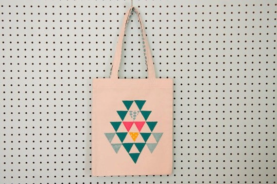 SALE Organic canvas tote bag with applique blue, hot pink and yellow triangles