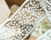 White Cotton Floral Embroidery Tulle Lace Trim 1.77 Inches Wide 2 Yards