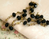 Vintage Black Crystal Bronze Chain 15.74 Inches(40cm) Long