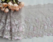 3.18 Yards Light Coffee Embroidery Floral Lace Trims Flowers Butterflies 4.3 Inches Wide