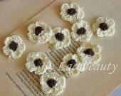 10pcs Crocheting Cotton Flowers Light Yellow For Headwear Decor Fashion Costume