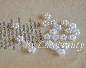 40pcs White Pearl Flowers For Headwear Decor Fashion Costume Doll dress Decor