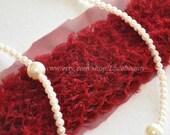 Wine Red Shabby Chiffon Lace Trim Drape Fold Lace 3.15 Inches Wide 1.2 Yard