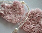 2pcs Lace Appliques Pale Pink Soft Chiffon Roses Heart Patches