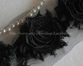 Soft Lace Trim 3D Black Edelweiss Shaaby Flowers 2.36 Inches Wide 0.7 yard