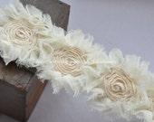 3D Shabby Rose Trim Beige Chiffon Flower Lace 1.96 Inches Wide1 Yard