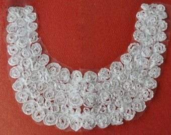 Roses Applique White Roses Lace Collar 10 Inches Long 9 Inches Wide