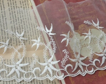 Cotton Embroidery Tulle Gauze Lace Trims Floral Lace 5.1 Inches Wide 1.6 yards