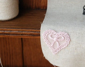 Pink Lace Appliques Bow Heart Embroidery Appliques 4pcs