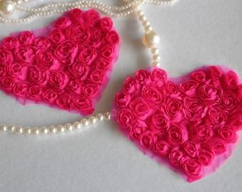 2pcs Lace Heart Appliques Briliant Rose Floral Chiffon Roses Heart Patches