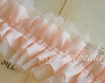 Pink Tulle Lace Trims 3.15 Inches Wide 2 yards