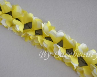 Yellow White Chiffon Leaves Lace Trim 2.36 Inches Wide 1 Yard
