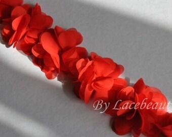 Red Chiffon Flower Lace Trim 14pcs Flowers