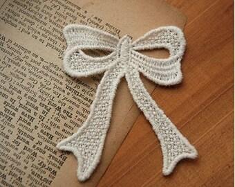 Lace Appliques Beige Bow Cotton Embroidery Appliques 4pcs