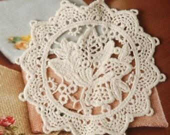 Beige Lotus Lace Appliques Cotton Embroidery Victorian Appliques 2pcs