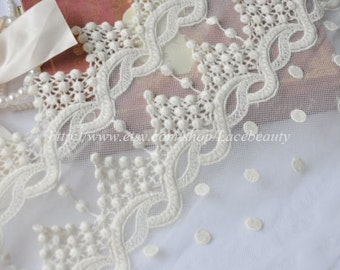 Cotton Embroidery Tulle Lace Trim Wide Off White Floral Scallop Wave Lace With Dots 9 Inches Wide 1 yard