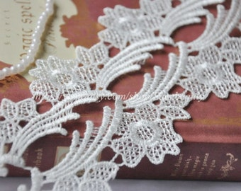 White Venice Lace Trims Floral Lace 3 Inches Wide 2 yards