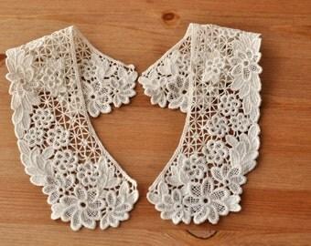 Venice Cotton lace Collar Appliques Beige Floral Emboridey Collars 1 pcs