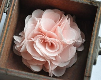 Light Pink Chiffon Flowers 2.55 Inches Wide For  Costume Headware Corsage Supplies 2pcs