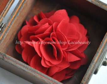 Deep Red Chiffon Flowers 2.55 Inches Wide For  Costume Headware Corsage Supplies 2pcs