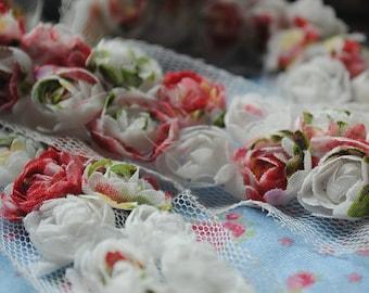 3D Shabby Colorful Chiffon Rose Trim 2 Row Chiffon Lace Trim 0.78 Inches Wide 2 Yards