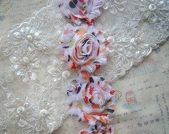Orange Black Polka Dot Shabby Chic Rosette Flowers Chiffon Trim 2.36 Inches Wide 1 Yard