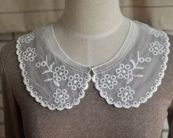 Beige Cotton Embrodiery Collar Appliques Floral Tulle Collar 1 pair
